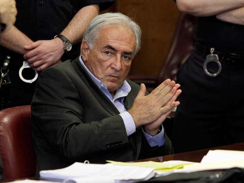 Former IMF chief Dominique Strauss-Kahn listens to proceedings in his case Thursday.