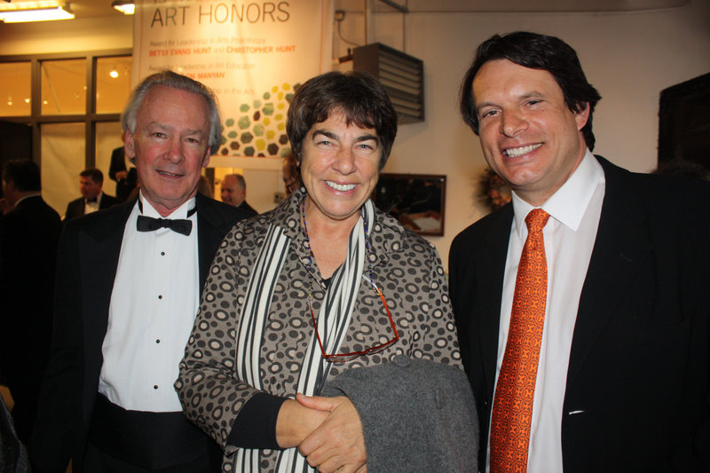 Daniel O'Leary, who heads the Quimby Foundation, Art Honoree Roxanne Quimby, and Ken Blaschke of sponsor Head Invest.