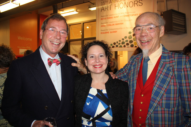 Ernst Bachofner of Cumberland Foreside, Alice Kornhauser of the Portland Symphony Orchestra and former MECA President Roger Gilmore.