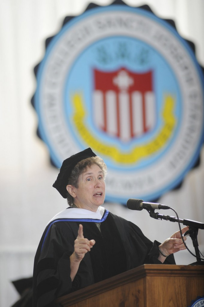 Sister Marilyn Lacey, founder of Mercy Beyond Borders, delivers the commencement address.