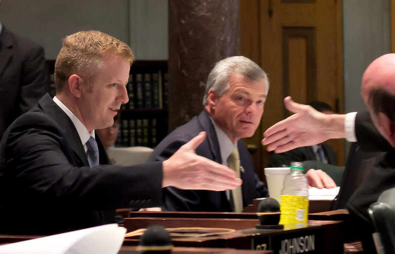 Republican state Sen. Stacey Campfield, left, sponsored the bill that was approved Friday.