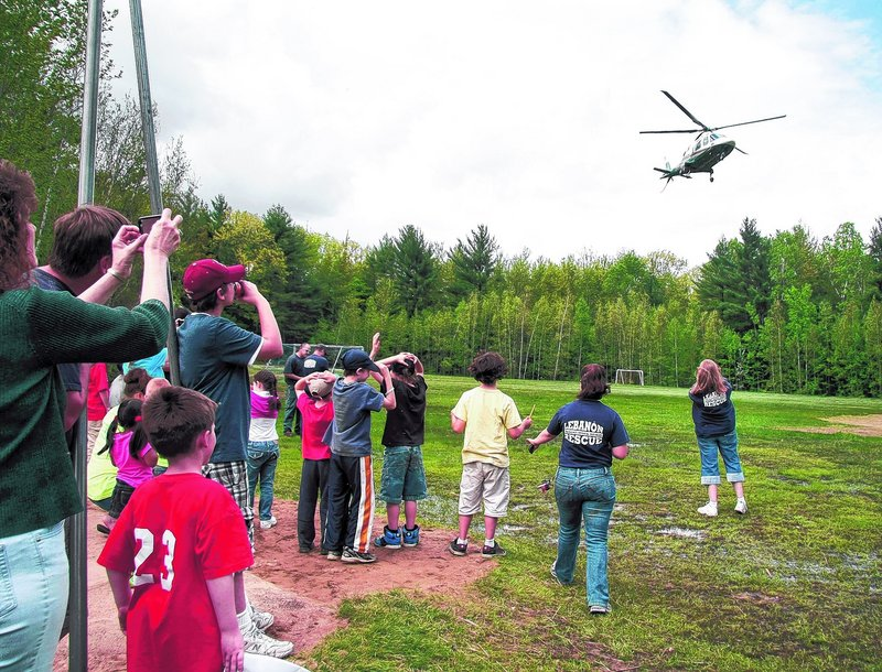 LifeFlight 2, a medical helicopter based in Lewiston, prepares to land.
