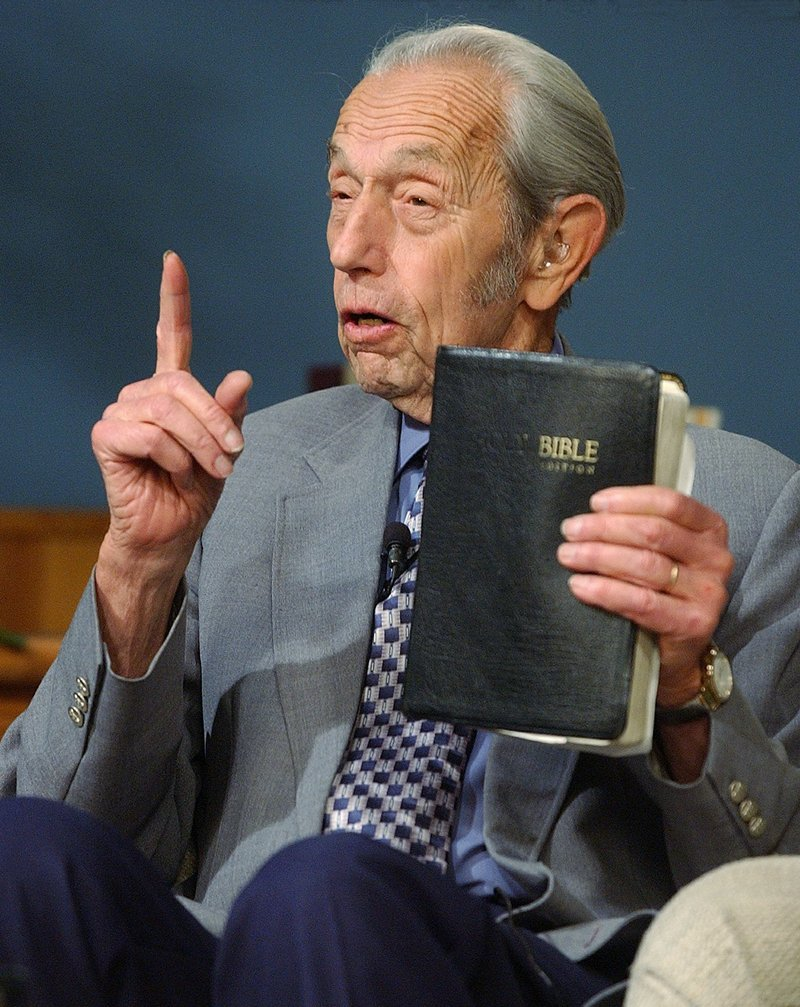 Harold Camping, seen in 2002, in San Leandro, Calif., also predicted the end of the world in 1994 – but blamed that on a mathematical error.