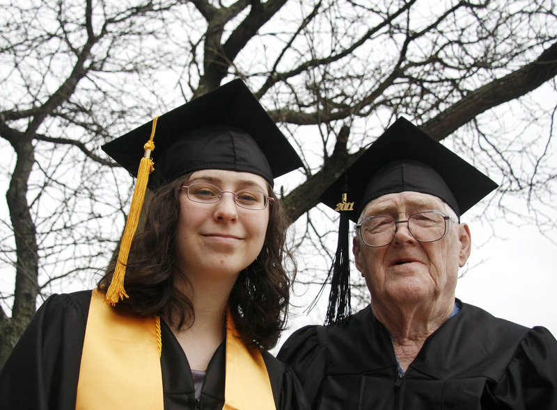 The youngest and oldest graduates in Southern Maine Community College's history are Rachel Champoux, 16, of Westbrook and Robert Witham, 83, of Portland, who both graduated Saturday. Champoux's stole signifies her membership in SMCC's Phi Theta Kappa Honor Society.