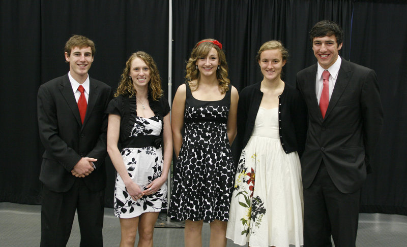 Five high school seniors received $5,000 scholarships in recognition of their athletic and scholastic achievements Sunday at the Maine Sports Hall of Fame banquet. From left: Evan Nadeau of Brewer High, Kaitlyn Hall of Thornton Academy, Taylor Seeley of Washington Academy, Caroline Summa of Cheverus and Michael McCann of Winslow.