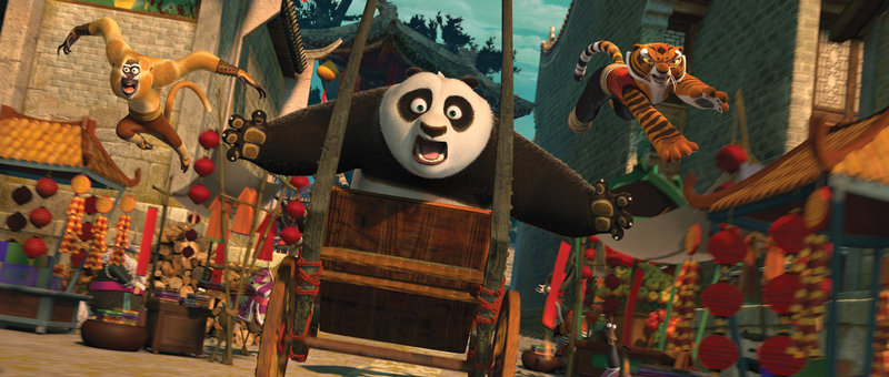 Po, center, voiced by Jack Black, Monkey, left, voiced by Jackie Chan, and Tigress, voiced by Angelina Jolie, are shown in a scene from