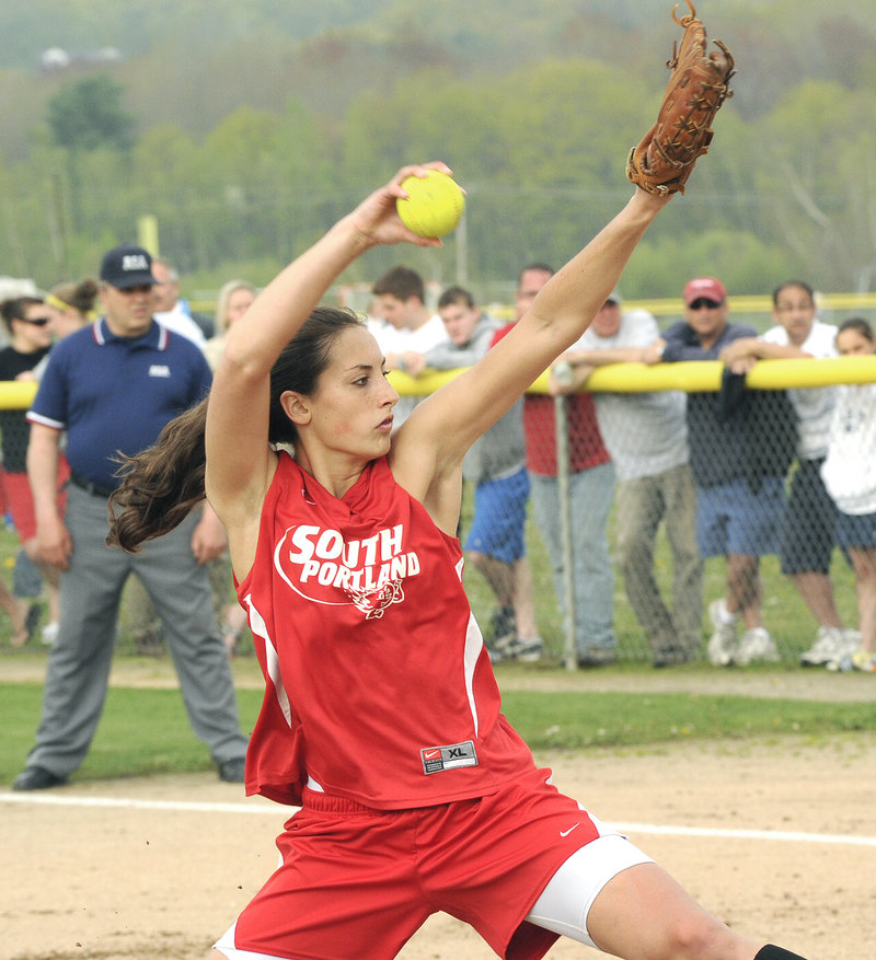 Alexis Bogdanovich of South Portland allowed seven hits with no walks and nine strikeouts in the 3-1 victory against Scarborough. Her final two outs, with the tying run at the plate, came on strikeouts.