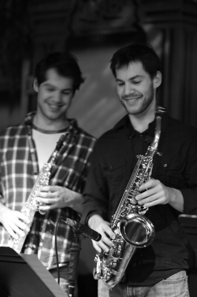 Jazz musician Kyle Hardy, right, and friends will play a free show at the Local Sprouts Cooperative in Portland on Saturday. Pictured with him is his twin, Duncan Hardy.