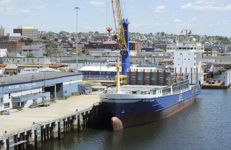 The container ship AFL New England is tied up Wednesday at the International Marine Terminal in Portland. The resumption of cargo service means the return of 18 to 20 jobs.