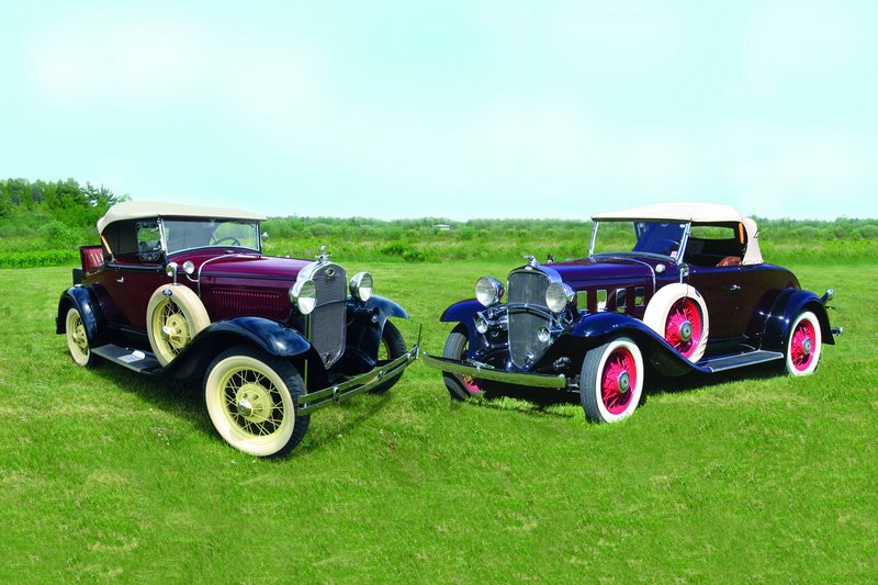 Vehicles such as this 1931 Ford Model A (left) and 1932 Chevrolet Confederate Roadster will be at the show this weekend.