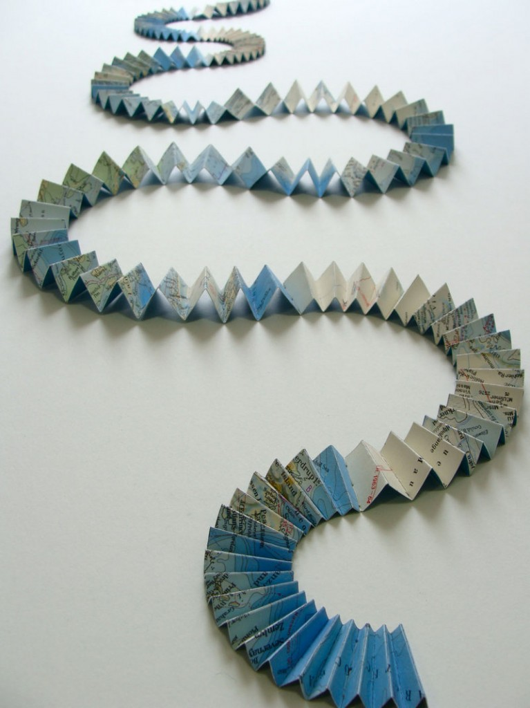 """""""Course,"""" by Shannon Rankin. The artist works with maps to produce revised versions that often become more like the terrain they represent."""