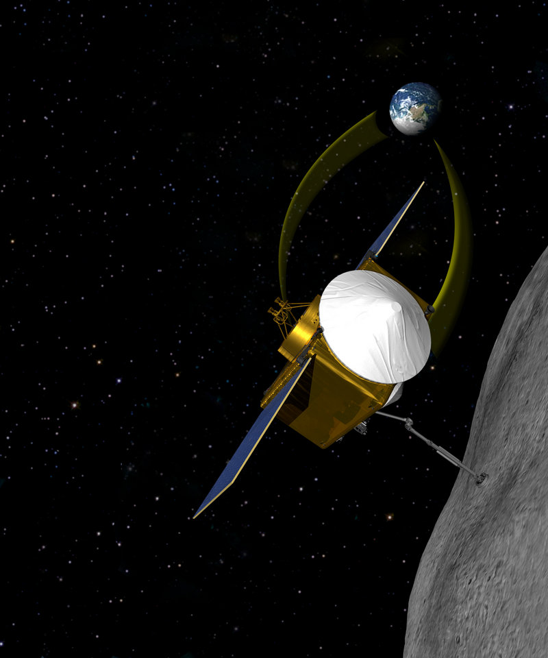 An artist's image shows the unmanned spacecraft that NASA will launch in 2016 to take samples from an asteroid and return in 2023.