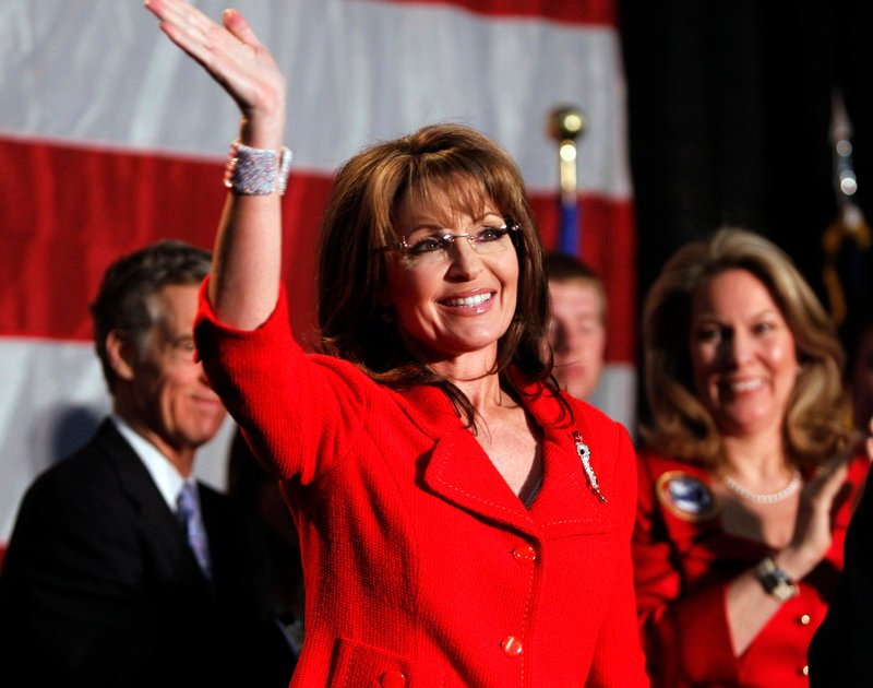 """Former Alaska Gov. Sarah Palin appears at a fundraiser at Colorado Christian University in Lakewood, Colo., this month. Palin has authorized a film about her career, added staff and said she has """"that fire in the belly"""" for a presidential bid."""