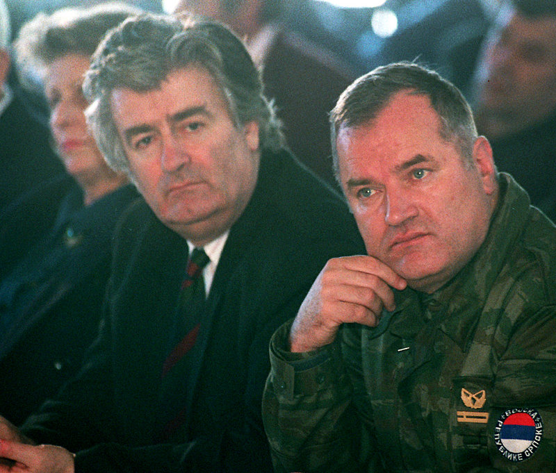 "Ratko Mladic, right, is shown with Bosnian Serb leader Radovan Karadzic in an undated file photo. Mladic oversaw ""unimaginable savagery"" during the Bosnian war, according to the U.N. war crimes tribunal."