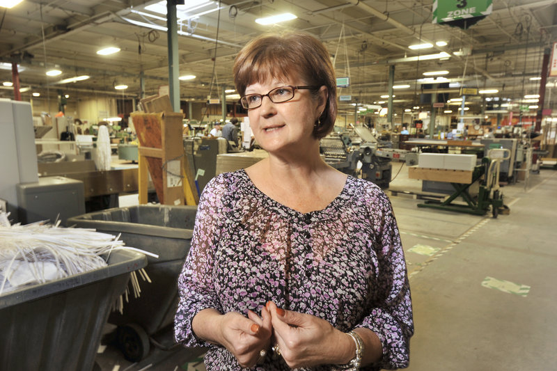 Karen Pelletier is Geiger's manager of manufacturing and operations. The company employs about 370 in Maine.