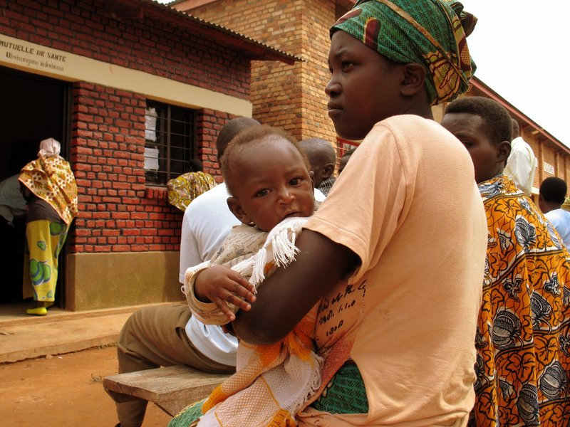 A mother and child are among those waiting to receive treatment at an HIV clinic in Nyagasambu, Rwanda. An estimated 22.4 million people in Africa are infected with HIV.