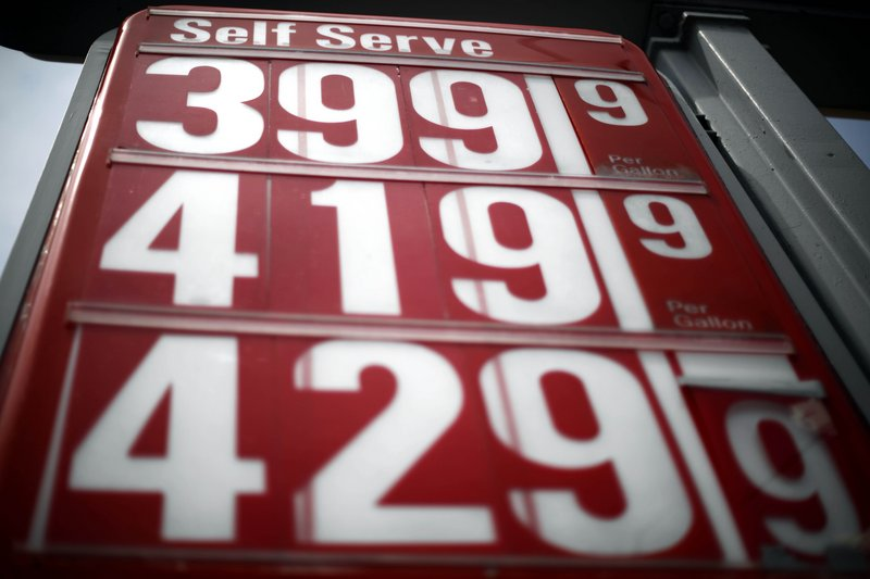 Gas prices are displayed in Philadelphia. For every $10 a U.S. household earns before taxes, almost $1 goes for gas.
