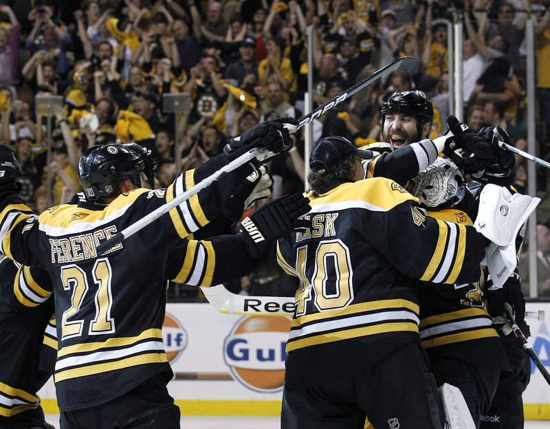 Zdeno Chara of the Boston Bruins turns Friday night to share the moment with his teammates – the moment when Game 7 against the Tampa Bay Lightning was won and a spot against the Vancouver Canucks in the Stanley Cup finals was sealed. The opener of the best-of-seven finals will be Wednesday at Vancouver.
