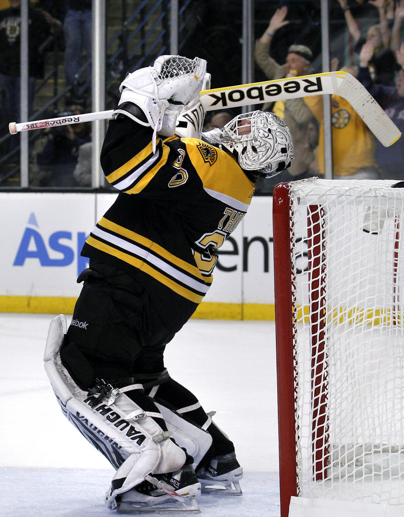 Some thought he was through. Now Tim Thomas of the Boston Bruins has made it through to the Stanley Cup finals after stopping 24 shots Friday night in the 1-0 victory against Tampa Bay in Game 7.