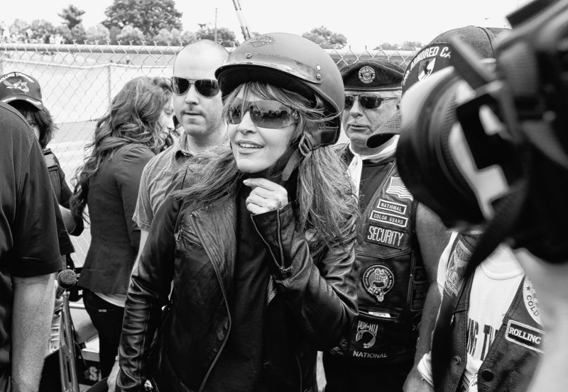 Sarah Palin, former GOP vice presidential candidate and Alaska governor, arrives at the beginning of Rolling Thunder, the Memorial Day weekend motorcycle ride from the Pentagon to the Vietnam Veterans Memorial in Washington, on Sunday.