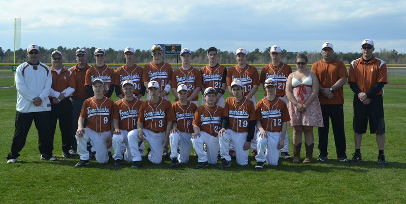 The 14U Southern Maine Tomahawks, an AAU baseball team, was honored with an invitation to the Super Showcase in Orlando, Fla. The Tomahawks were among 10 teams selected to participate in the five-day tournament, which includes teams from Florida, Alabama, Virginia, Rhode Island, Pennsylvania and Guatemala. Team members are, from left to right: Front row: Matthew Beecher, Jonathan Vickers, Luke Velas, Jacob Brown, Anthony Degifico, Cameron Brochu and Christopher Foley; Back row: Coach Tim Downing, Coach David Vickers, Coach Dan St. Clair, Garrett McDonald, Andrew St. Clair, Ryan Ruhlin, Dylan Hapworth, Felix Del Vecchio, Brandon Wambolt, Nate Wessel, scorekeeper Savannah Ruhlin, Manager Vinnie Degifico and Coach Troy Wessel.