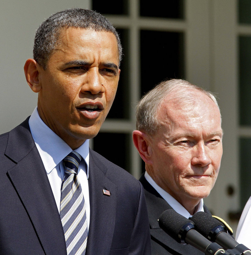 President Obama announces his nominee for Joint Chiefs of Staff chairman, Army Gen. Martin Dempsey, right, who served two war tours as a commander in Iraq.