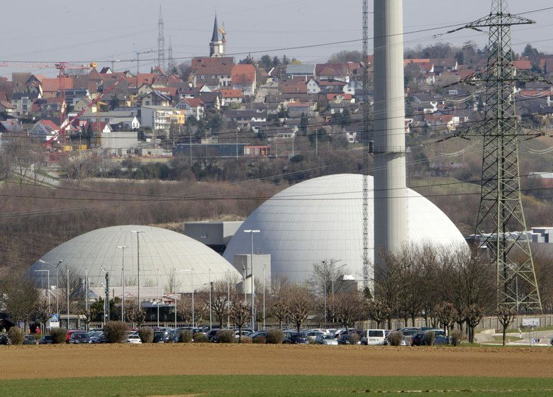 The nuclear plant at Neckarwestheim, southern Germany, is shown in March. Germany's environment minister said Monday that Chancellor Angela Merkel's coalition government has agreed to shut down all of the country's nuclear power plants by 2022.