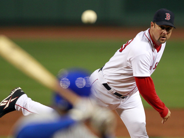 Boston Red Sox's Tim Wakefield pitches in the first inning of a game against the Chicago Cubs at Fenway Park on Sunday.