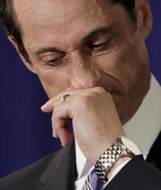 A teary U.S. Rep. Anthony Weiner, D-N.Y., addresses a news conference in New York on Monday.