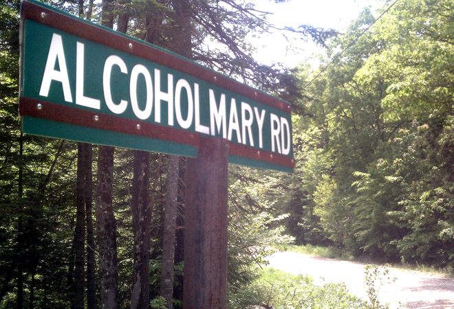 The sign for Alcohol Mary Road in Greenwood.