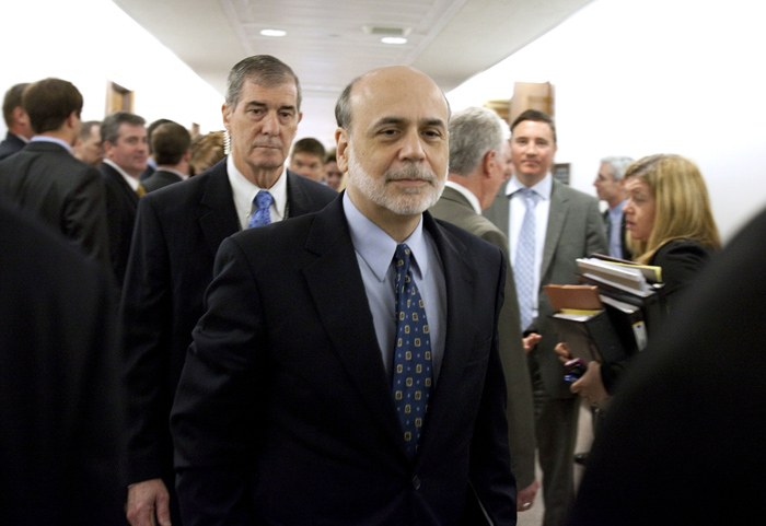 Federal Reserve Chairman Ben Bernanke leaves a Senate Banking Committee hearing in this May 11, 2011, photo.