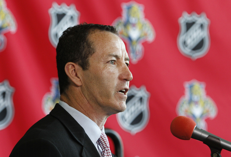 Kevin Dineen talks to the media after being named head coach of the Florida Panthers on Wednesday. Dineen played in more than 1,100 games and scored more than 350 goals. He spent the past six seasons as head coach for the Portland Pirates of the AHL.