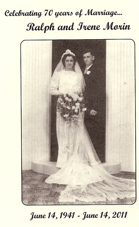 The wedding photo that Ralph and Irene Morin used on their 70th anniversary invitation.