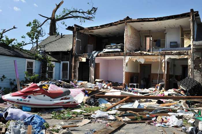 A house in Springfield, Mass., ripped apart in Wednesday's storm.