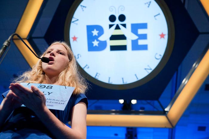Lily Jordan competes in the semifinals of the National Spelling Bee in National Harbor, Md., today.
