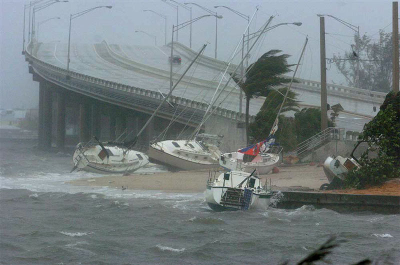 Not Maine! This photo from 2004 shows boats littering the shoreline in Palm Beach County as Hurricane Frances pounds the Florida coast.