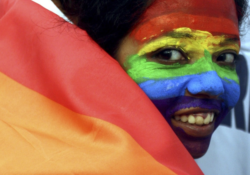 A gay-rights activist celebrates an Indian court ruling in 2009 that decriminalized homosexuality. The U.N. Human Rights Council in Geneva narrowly approved a gay-rights resolution Friday.
