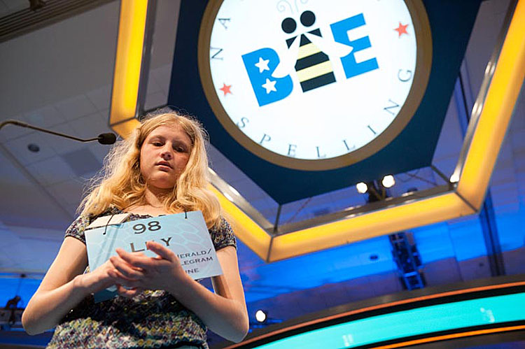 Lily Jordan competes in the preliminary rounds of the National Spelling Bee at the Gaylord National Resort and Convention Center in National Harbor, Md., today.