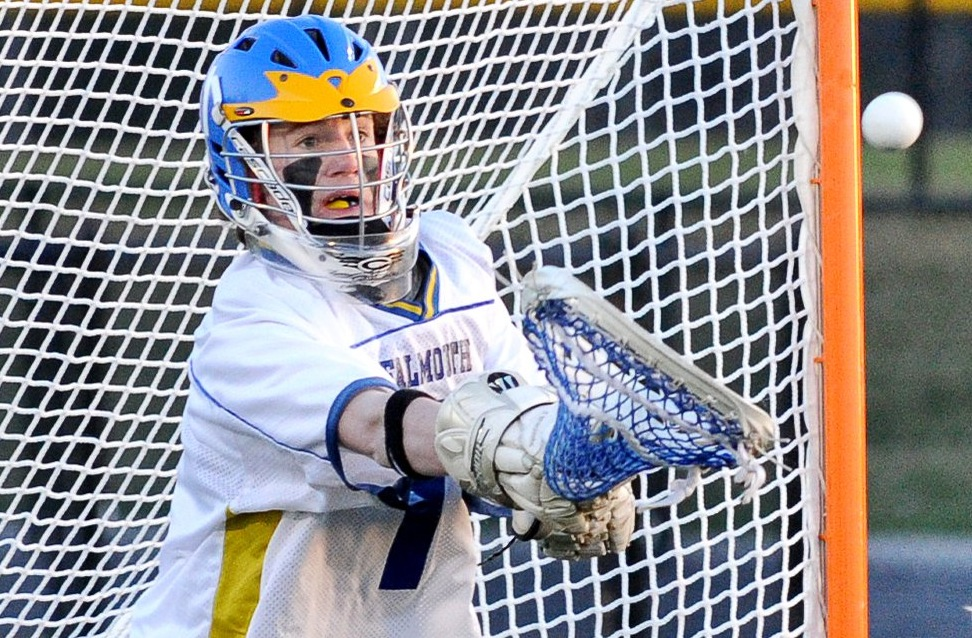 Cam Bell, in his second full season as Falmouth's goalie, is the hub of the Yachtsmen's communication on defense.