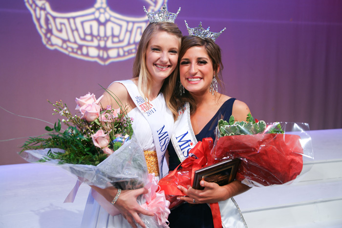 Miss Maine 2011 Julia Furtado, right, with Alison Folsom, Miss Maine's Outstanding Teen 2011.