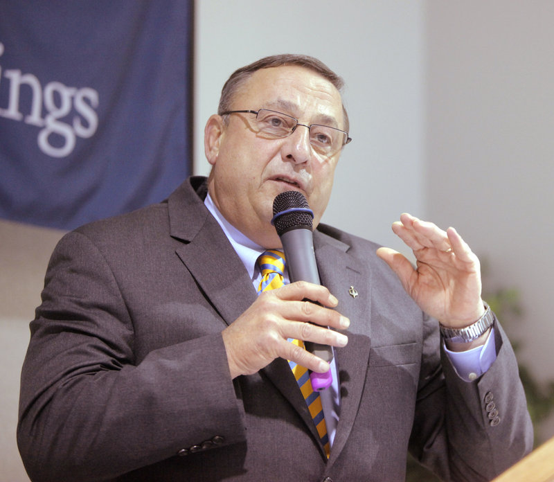 Gov. LePage speaks at the annual meeting of the Sanford-Springvale Chamber of Commerce in Sanford on May 27.