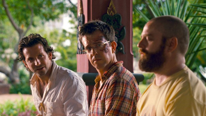 Bradley Cooper, left, as Phil, Ed Helms as Stu and Zach Galifianakis as Alan in