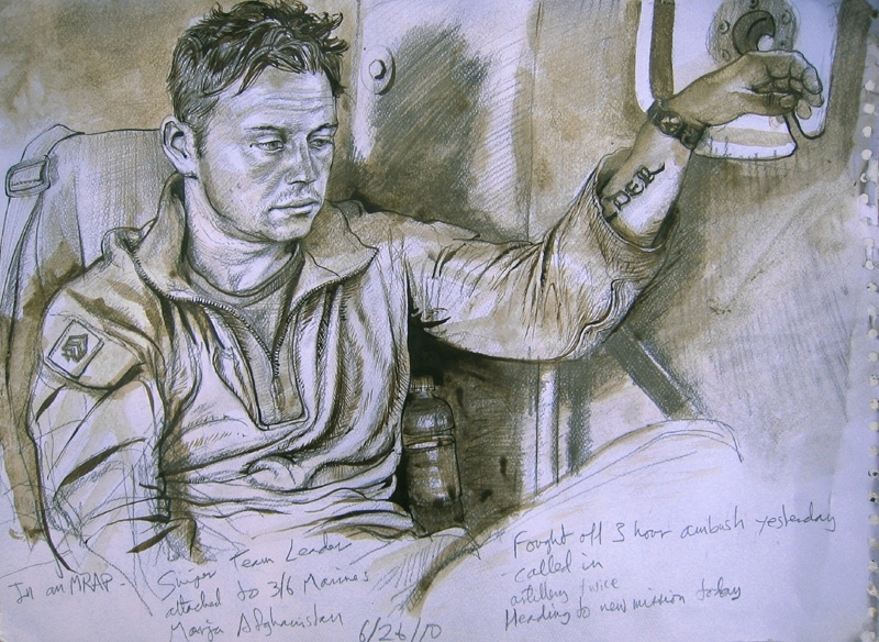 "Mumford's rendering of a sniper team leader in Afghanistan includes this text: ""Fought off 3 hour ambush yesterday; called in artillery twice; heading to new mission today."""