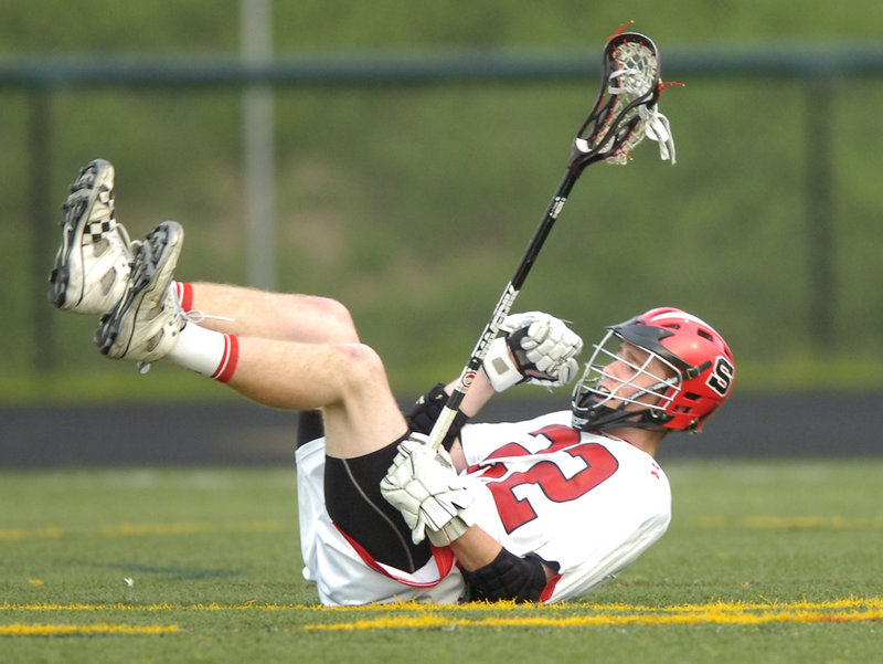Peter Moore of Scarborough reacts after scoring a fourth-quarter goal during the 9-4 victory against Portland in a regular-season schoolboy lacrosse finale.
