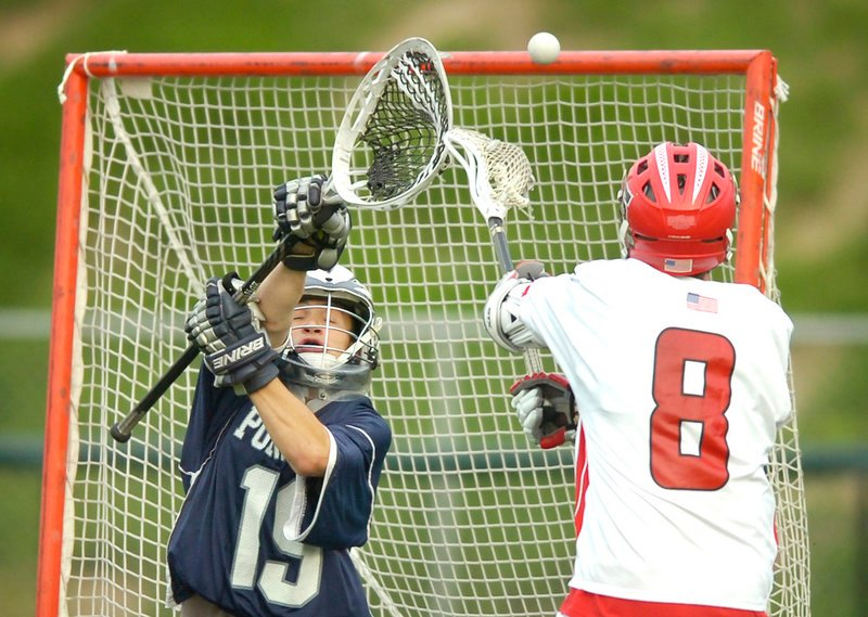 Portland goalie Ryan Jurgelevich, left, and Scarborough's John Wheeler will not meet in the playoffs unless it's in the state final, since they play in different regions.