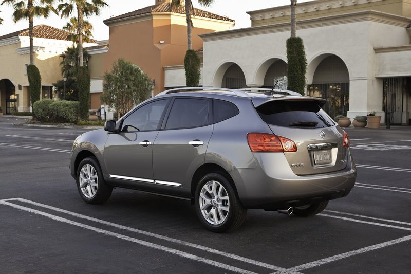 A new rear spoiler is among the changes in the updated Nissan Rogue crossover vehicle.