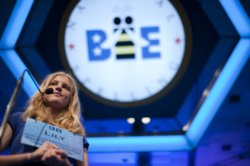 Maine's own Lily Jordan, 14, takes the stage in the finals of the National Spelling Bee at the Gaylord National Resort and Convention Center in National Harbor, Md., on Thursday. An eighth-grader from Cape Elizabeth Middle School, she was among the 13 finalists competing for the national honor.