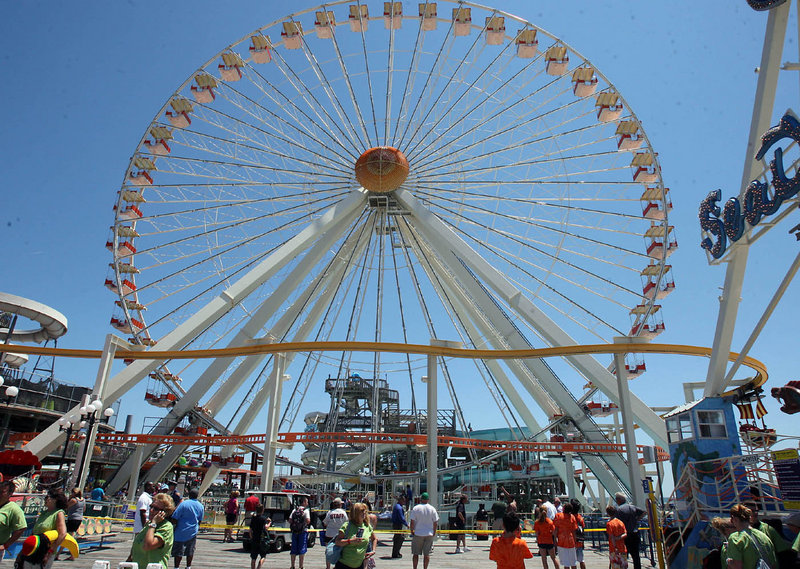The Ferris wheel at Morey's Mariner's Landing Pier in Wildwood, N.J., is shown Friday. The ride was closed after a girl fell to her death.