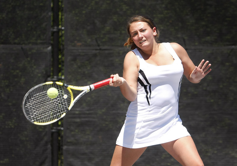 After playing USTA events for two years, Maria Varano played with the Kennebunk High team and won the state singles title.