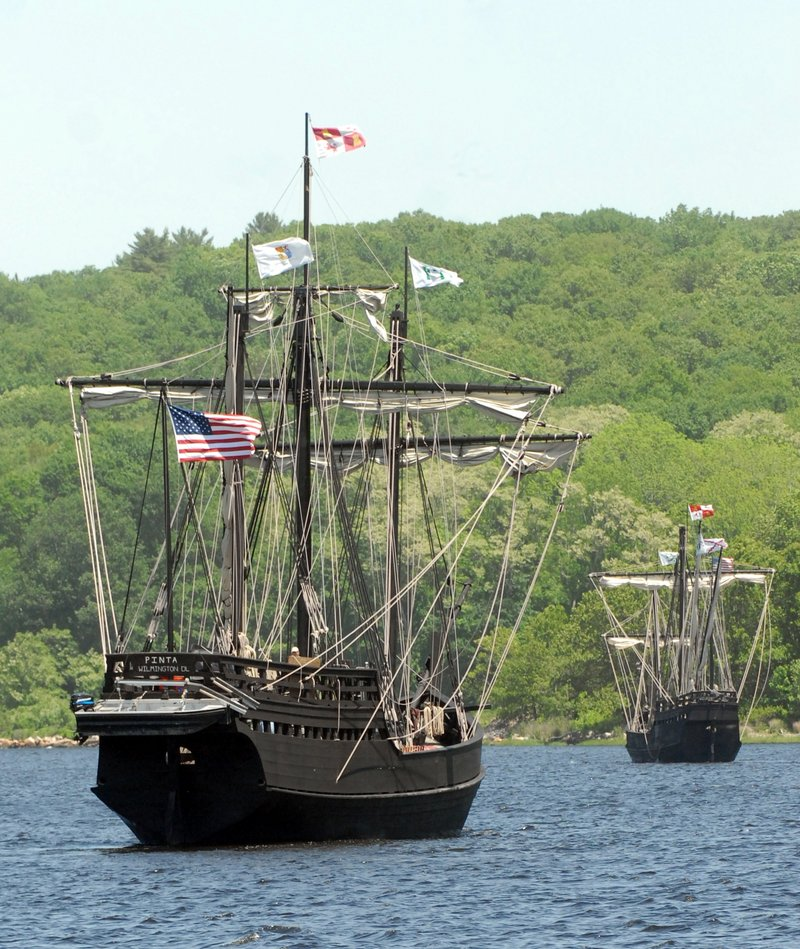 The Pinta, left, follows the Nina, replicas of Christopher Columbus' ships, up the Thames River in Ledyard, Conn., on their way to Norwich, Conn., last Thursday.